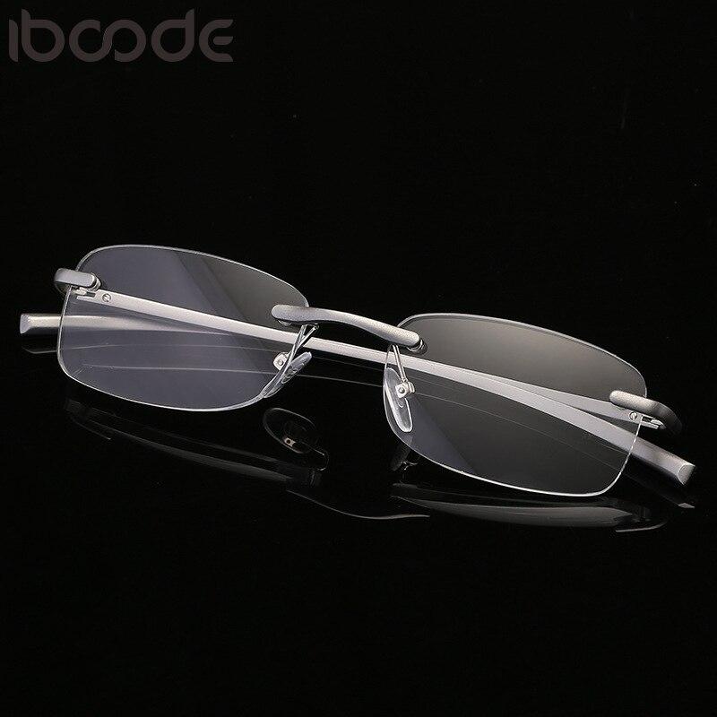 Iboode Rimless Reading Glasses For Men Women Square Eyeglasses Ultralight Presbyopic Retro Frameless Eyewear +1.0 +1.5 +2.0 +2.5