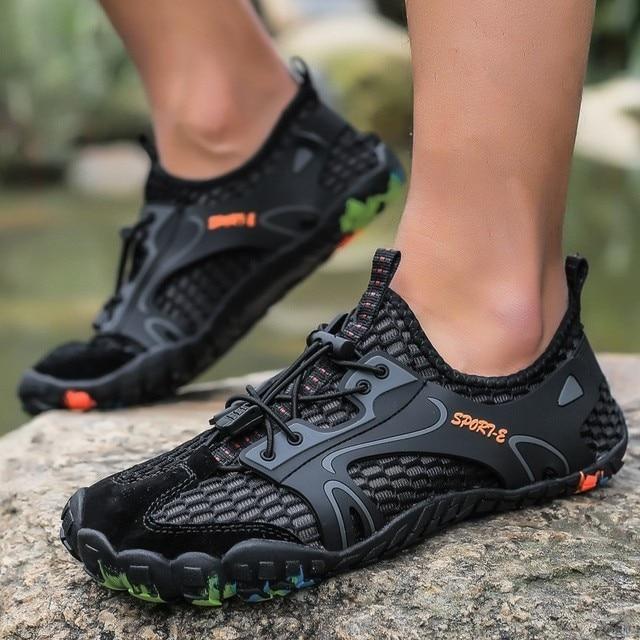 Plaj Yalınayak su ayakkabısı Kadın Erkek Açık Spor Aqua Ayakkabı Unisex Yürüyüş Kaymaz Beş Ayak Sneakers Hızlı Kuruyan yürüyüş botları