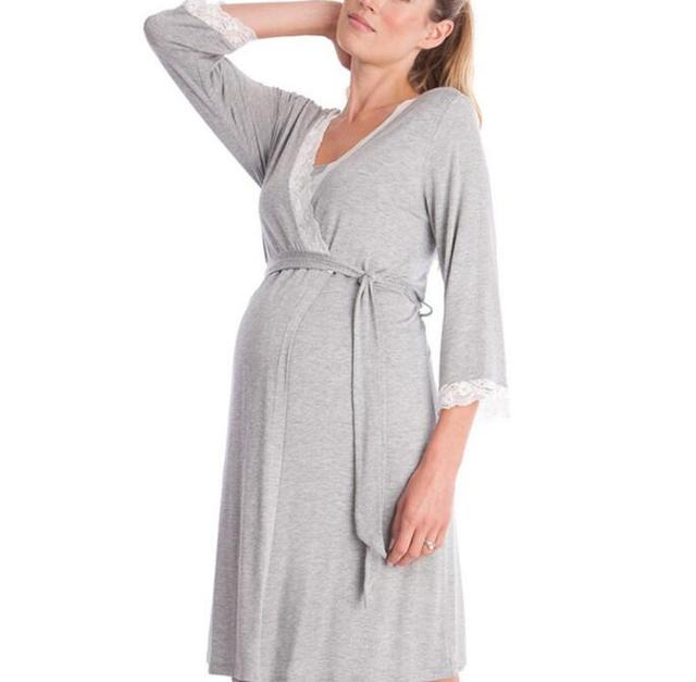 cde5a10b5a7b8 2019 Autumn Pregnant Maternity Women 3/4 Sleeve Cotton Lace Robes Night Gown  Dress Casual Loose Sleepwear Loose Soft Pajamas