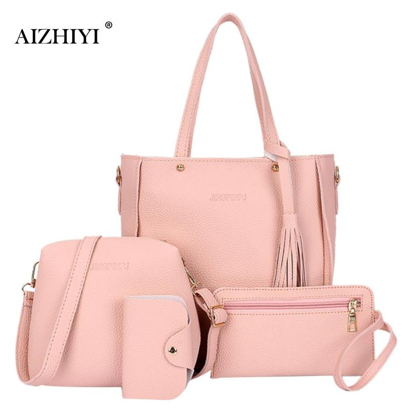 4pcs/set Pure Color Litchi Leather Fashion Women Multifunction Large Capacity Shoulder Satchel Handbags Casual Shopping Handbag