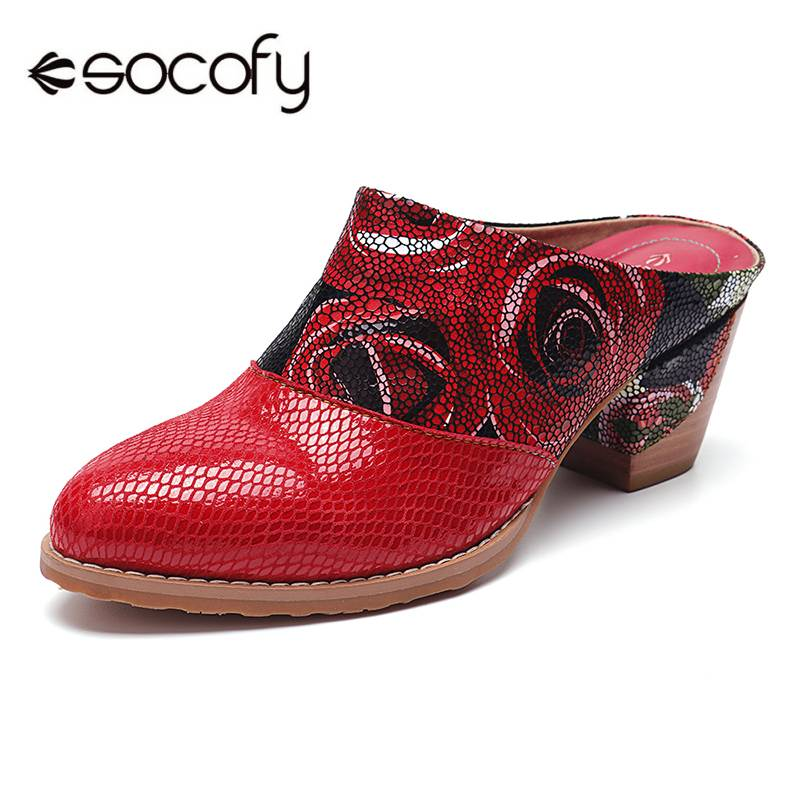 SOCOFY Rose Pattern Genuine Leather Comfortable Stitching Low Heel Slip On Pumps Bohemian Splicing Ladies Shoes Woman Zapatos Ne