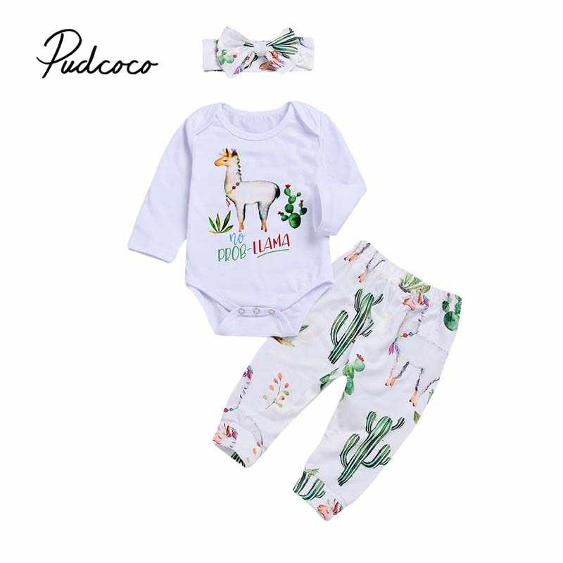 83bc72cb2ed Cute Baby Girl Clothes Cactus 3Pcs Newborn Infant Baby Girls Alpaca Tops  Bodysuit Floral Pants Headband