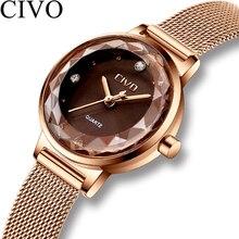 Чиво 2019 г. Роскошные Брендовые женские часы кварцевые Мода Женщина Кристалл Стильный сетки наручные часы Водонепроницаемый золото для Для женщин часы