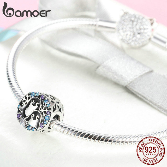 BAMOER Winter Collection 925 Sterling Silver Penguin Family Beads Animal Charms Fit Charm Bracelets & Necklaces Jewelry SCC992