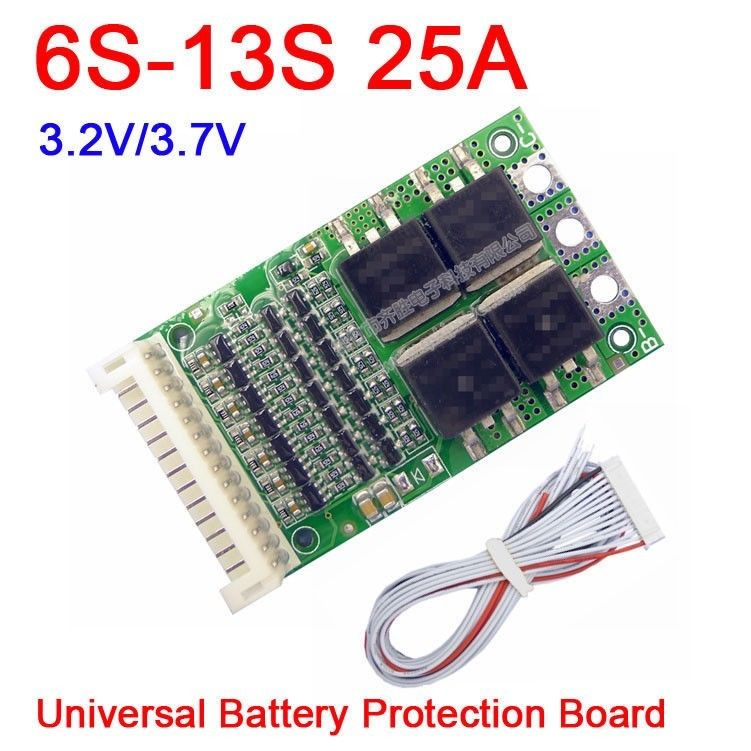 DYKB 6S-13S 25A BMS LiFePO4 Li-ion Lithium Battery Protection Board 24V 36V 48V 7S 8S 10S 12S For Electrical Tool Ups CAR