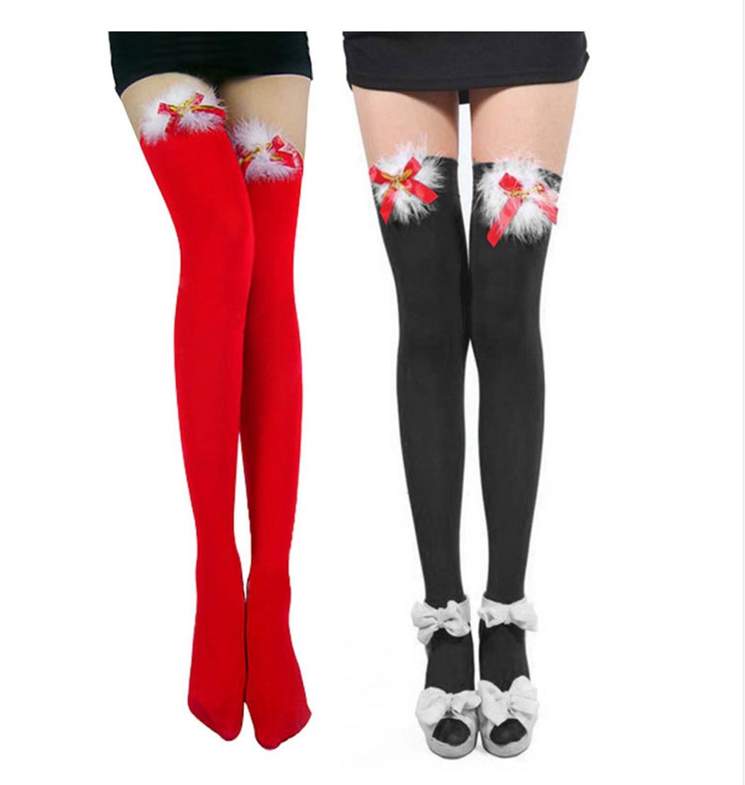 Christmas Gift Thigh High Socks Xmas Bow Over Knee High Socks Student Long Sock Women Over Knee Long Leg Warmers Meias Sexy