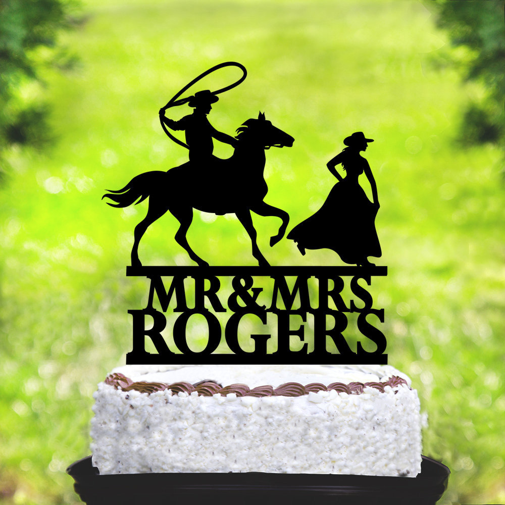 Surprising Custom Mr Mrs Name Cowboy Wedding Cake Topper Custom Bride And Funny Birthday Cards Online Barepcheapnameinfo