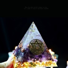 AURAREIKI Orgonite Energy Rune Amethyst Pyramid Augen Auger Energy Converter Home Decoration Resin Decorative Craft Jewelry