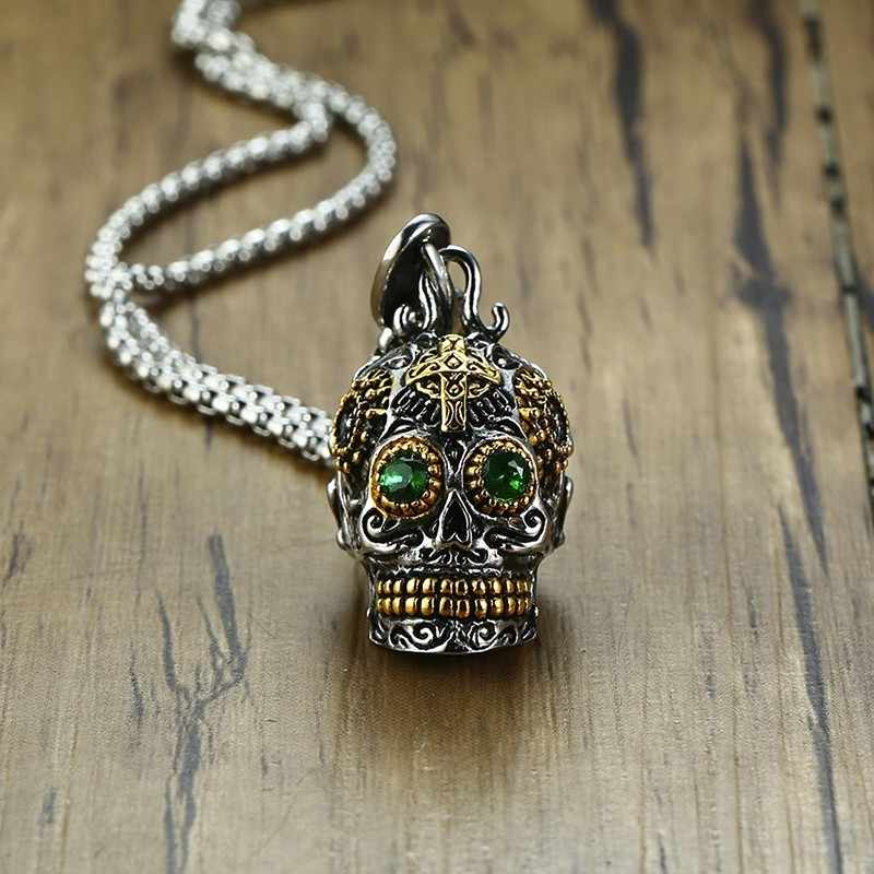 Vnox Gothic Skull Pendants for Men Stainless Steel Skeleton Filigree Crafts Green Stone Eyes Punk Male Jewels