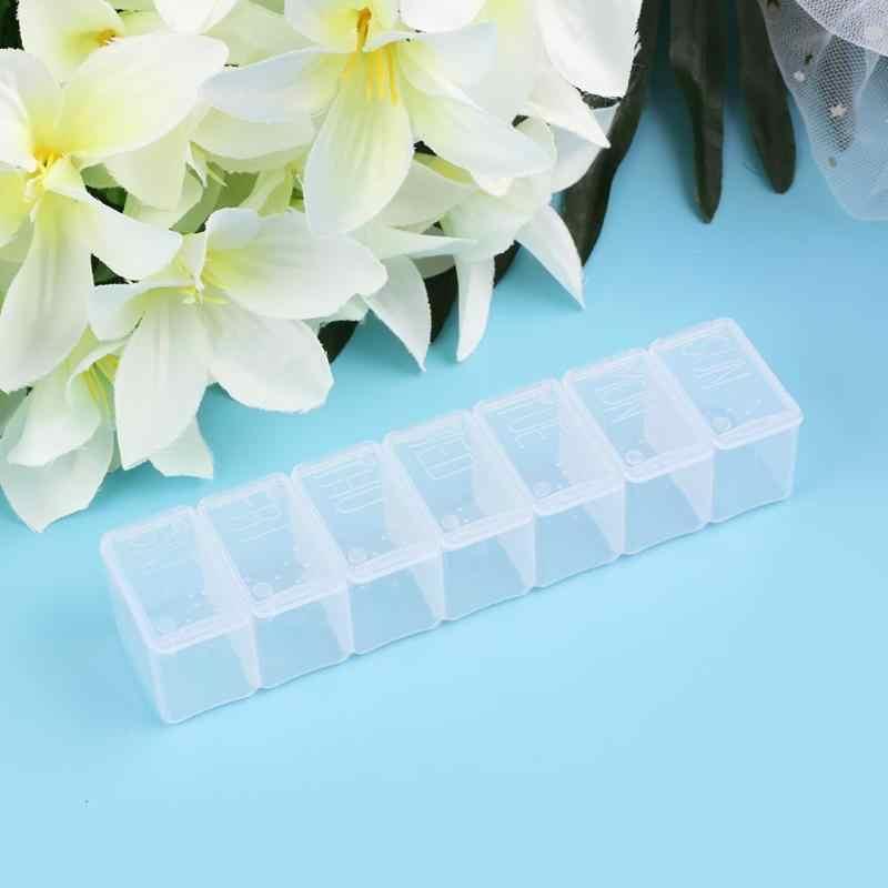 Draagbare 7 Dag Wekelijkse Clear Drug Tablet Pillendoosje Capsule Vitamine Geneeskunde Houder Splitters Organizer Container Case