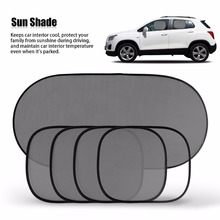 5 Pcs Car Window Glass Sun Shade Black Mesh Cover Windshield Rear Side Sunshade Visor Block
