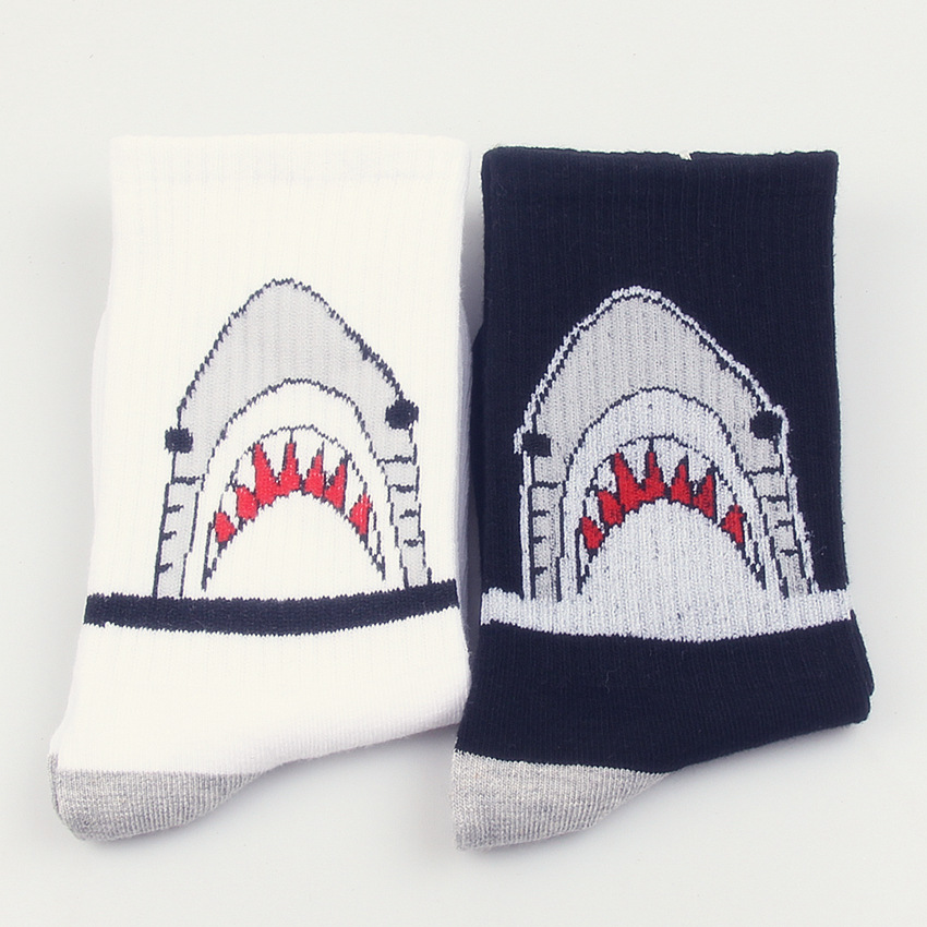 Unisex Calcetines Tide Brand Harajuku Cartoon Shark Socks Long Tube Cotton Skateboard Socks In The Street Men Women Cotton Socks