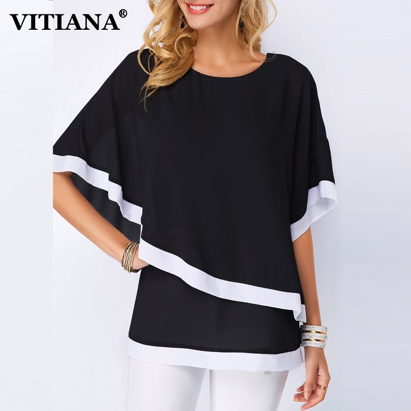 VITIANA Ladies Seaside Chiffon Shirt Summer season 2019 Feminine Black Blue Striped Batwing Sleeve O-Neck Informal Shirt Girls Skinny Clothes Blouses & Shirts, Low-cost Blouses & Shirts, VITIANA Ladies...