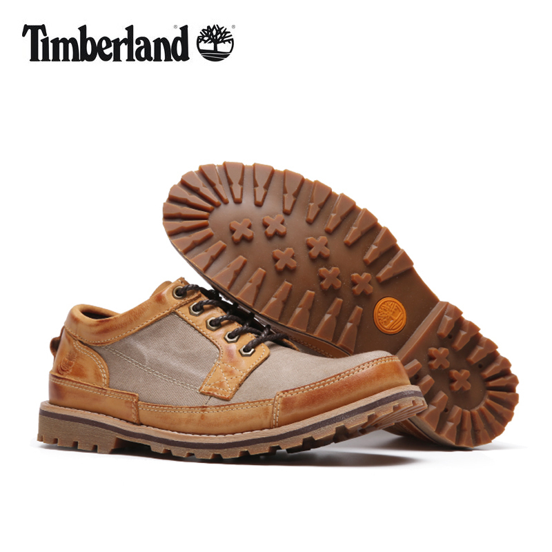 US $120.4 14% OFF|TIMBERLAND Original Men Outdoor Wearable Business Casual Shoes,Men Low Top Genuine Leather With Canvas Anti Slip Footwear 39