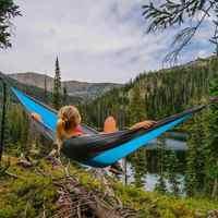 Portátil hammock dupla pessoa acampamento sobrevivência jardim balanço caça pendurado cadeira de dormir viagem móveis parachute redes