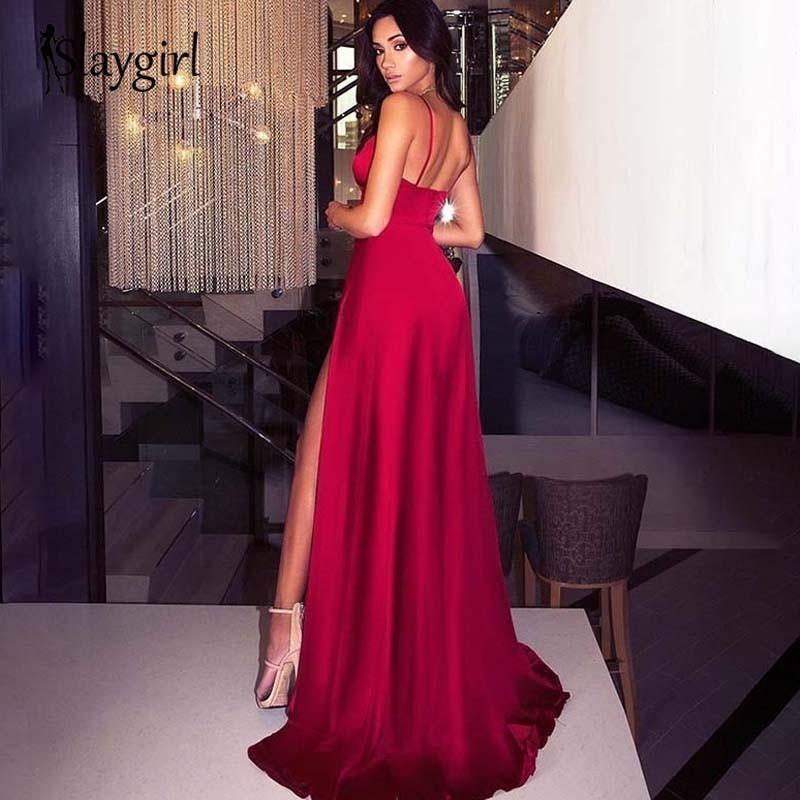 Slaygirl Satin Maxi Long Dress Party Sexy Wedding Elegant Dress Women Side High Split Deep V Neck Summer Dresses Vestidos Red