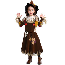 Deluxe Girls The Wizard Of Oz Scarecrow Costume Cosplay Carnival Performance Party Suit Halloween Costumes For Kids
