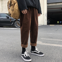 Spring New Corduroy Pants Men Fashion Retro Solid Color Casual Trousers Man Streetwear Hip Hop Loose Straight Cotton Pants Male