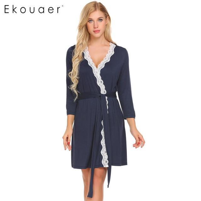 36e0f2f74b Ekouaer Bathrobe Dressing Gown Women Nighties Sleepwear Long Sleeve V-Neck  Lace-trimmed Belt Kimono Robes Spring Autumn Homewear