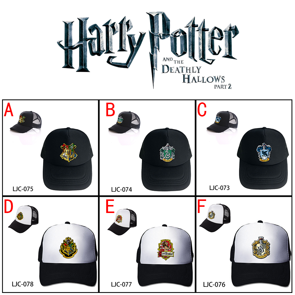 Wellcomics Harri Potter Hogwarts Gryffindor Slytherin Ravenclaw Hufflepuff Mesh Trucker Cap Baseball Cap Hat Cosplay Costume New