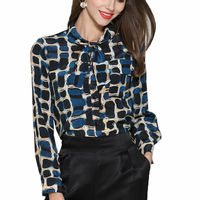 Women Blouse Natural Silk Stretch Satin Floral Print Long Sleeve Lady Shirts With Size L XL XXL XXXL