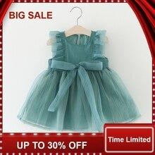 Girls Dress with Bow Ruffle Sleeveless Kids Dresses for Girls Vintage Vestido Infantil Kids Clothes