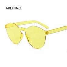 Mirror Sunglasses Rimless Vintage Yellow New-Fashion Women Luxury Brand Round Original-Design
