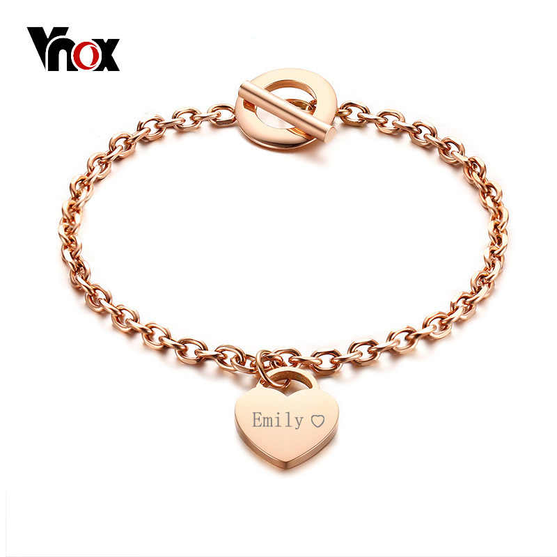 Vnox Personalised Gifts Heart ID Charm Bracelets for Women Free Engrave Name Stainless Steel Link Chain Bracelets & Bangles