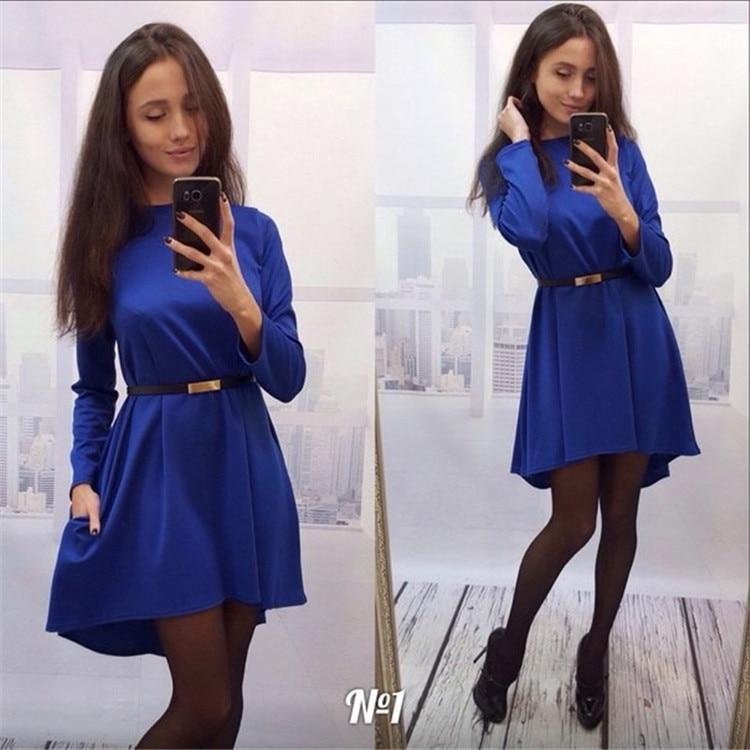 A popular retro dress Womens Summer 2019 New solid-color long-sleeved irregular