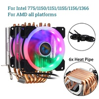 CPU Cooler for Intel LAG 1155 1156 775 1150 1151 for AMD AM3/AM2 LED RGB CPU Fan Silence 6 Heatpipe Cooler Cooling Fan Heat Sink