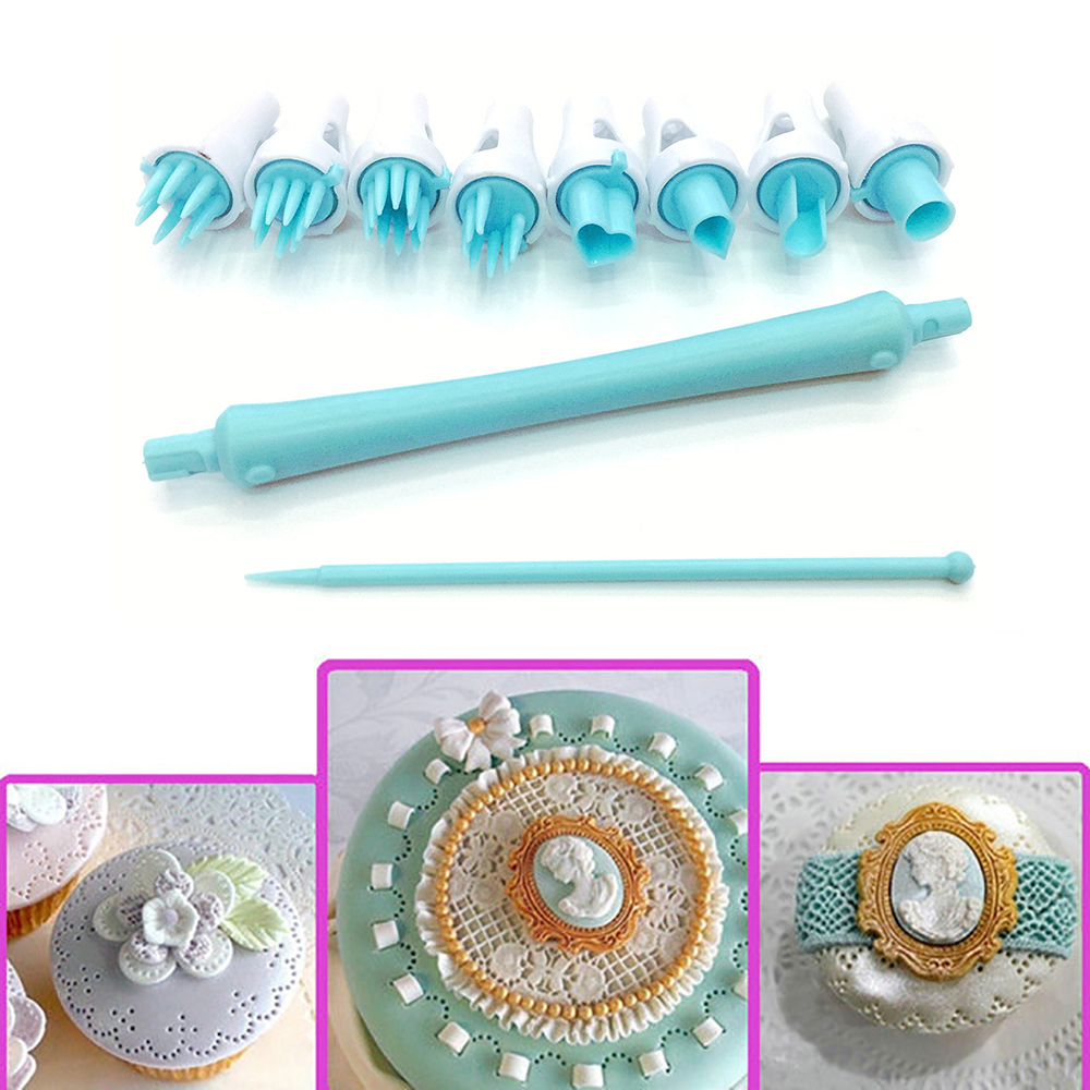 Cookie Cutter 8Pcs/Set Cake Plastic Sugarcraft Decor Fondant Plunger Cutter Cupcake Cookie Mold Icing Sugar Pastry Baking Tools