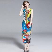388ee6b946 Runway 2019 wiosna i lato sukienka na imprezę najnowszy moda O-Neck drukuj  żyrafa diamenty Casual elegancka długa suknia kobiety