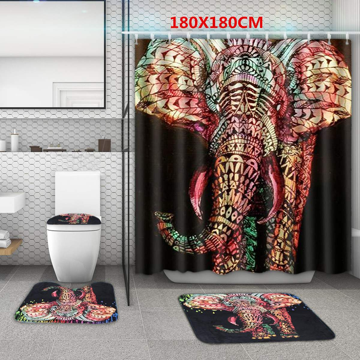 4Pcs/Set Anti Slip African Colorful Elephant Bathroom ...