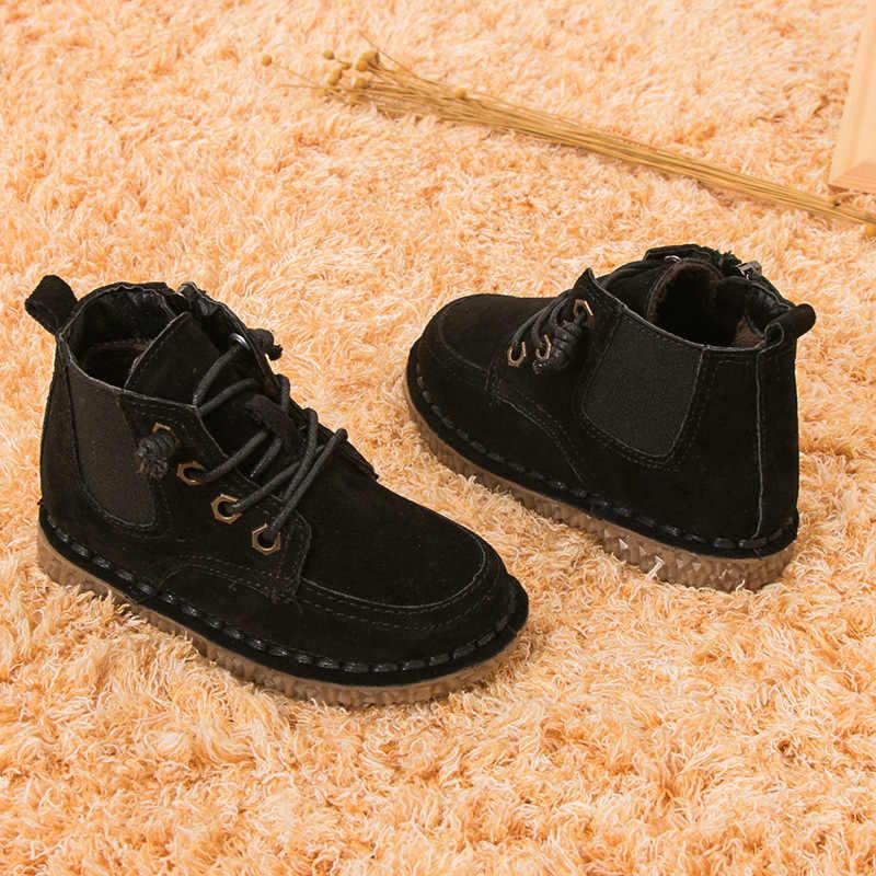 2018 ใหม่เด็กผู้หญิงรองเท้าหนังแท้รองเท้าบู๊ตแฟชั่น Elegant Casual เด็กสำหรับรองเท้าเด็กรองเท้าสบายๆรองเท้า