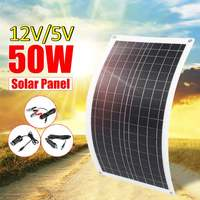LEORY 50W Flexible Solar Panel Dual USB 12V/5V Solar Cell Module for Car Yacht Led Light RV 12V Battery Boat Outdoor Charger