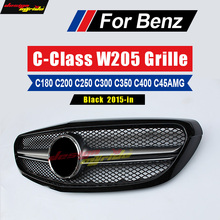 W205 Grille AMG-style ABS Black For Mercedes-Benz C180 C200 C250 C300 C400 Without Emblem Front Mesh 15-in natural