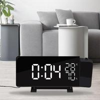 Projection Alarm Clock Digital LED FM Radio Alarm Projection Clock with Temperature Hygrometer Snooze Dual USB Charging Port