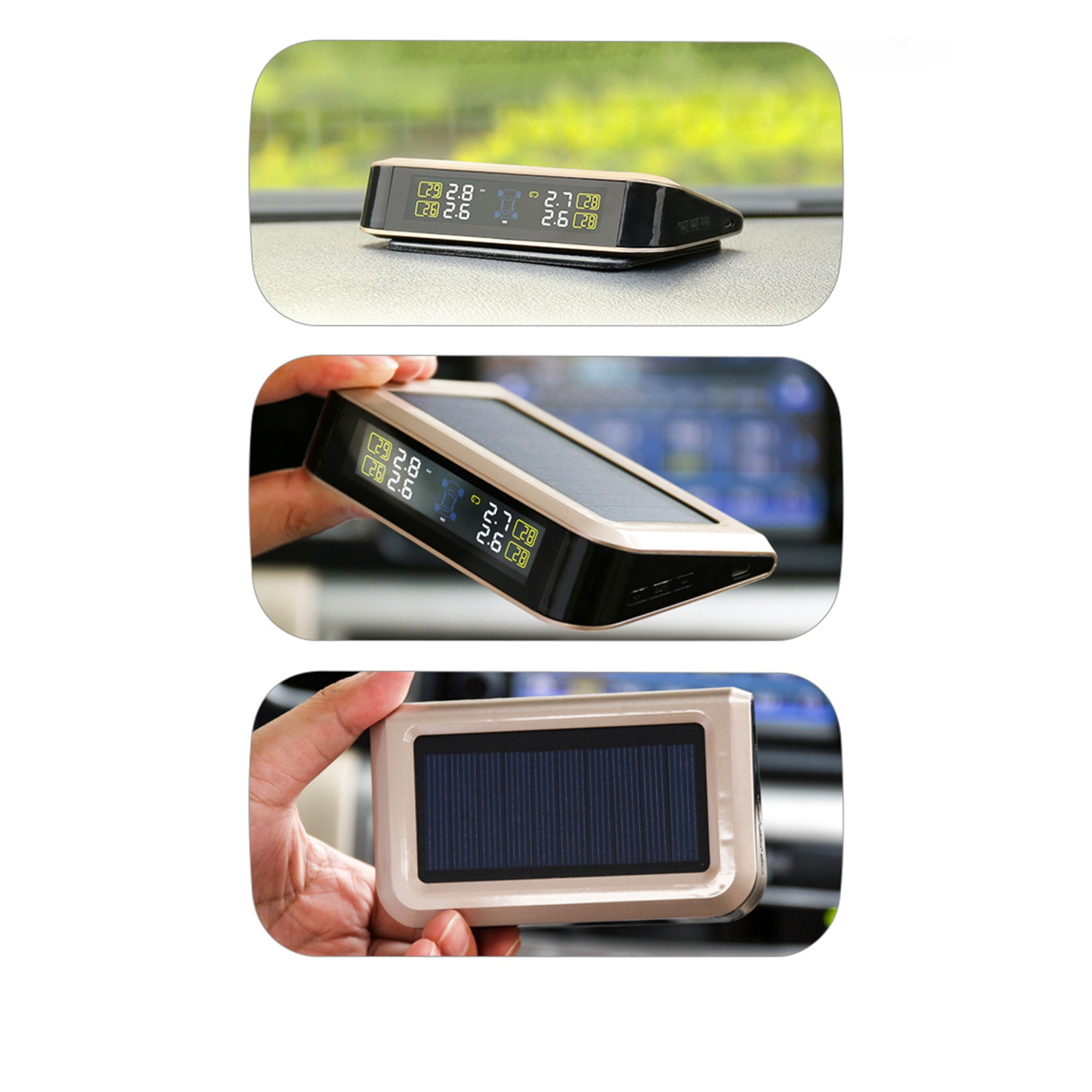 Careud Solar Power Supply Tpms Car Tire Pressure Monitoring System With 4 Sensors Psi/Bar Measurement