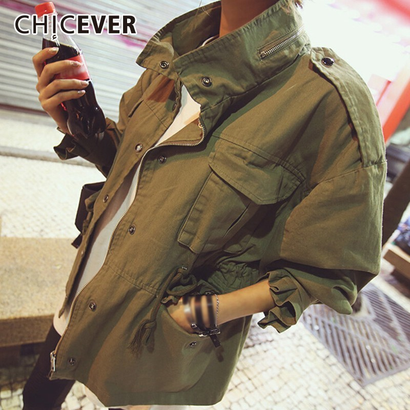 CHICEVER Autumn   Trench   Coat For Women Stand Collar Lantern Sleeve Oversize Women's Windbreaker Korean Fashion Clothing New