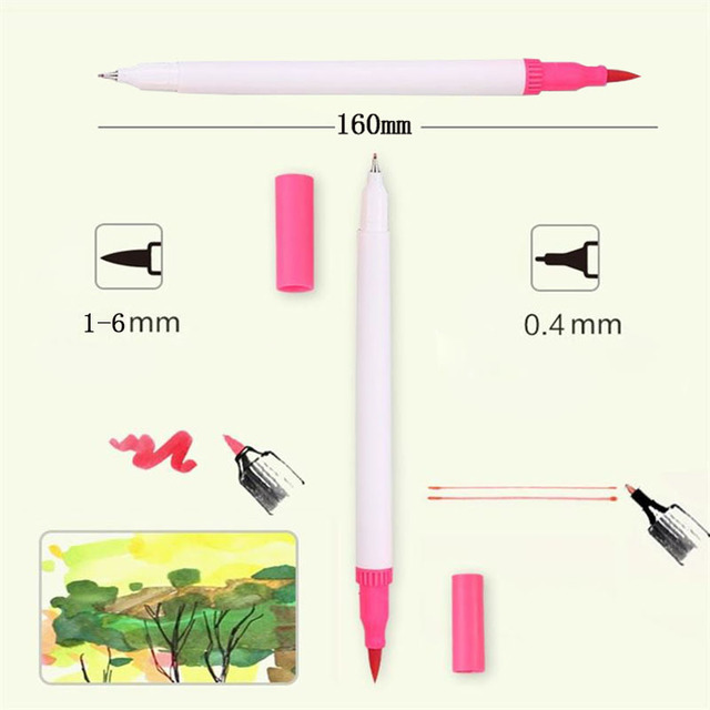 12/18/24/36/48/72/100 Colors Fineliner Drawing Painting Watercolor Art Marker Pens Dual Tip Brush Pen School Supplies Stationery 5