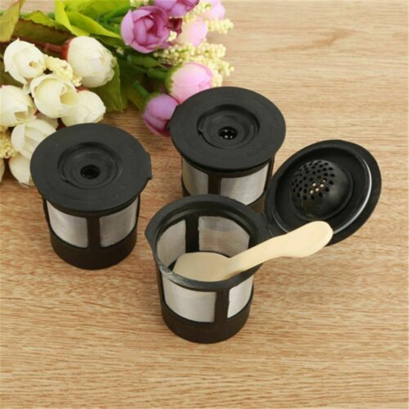 3Pcs/set Coffee Tea Pod Filters Compatible With Keurig K Cup Coffee System Reusable Coffee Filter With A Coffee Spoon Kitchen