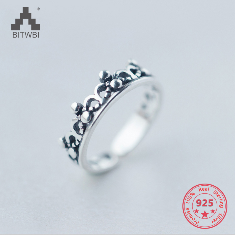 Korea Hot Style 925 Sterling Silver Simple Retro Vintage Chic Crown Open Ring Jewelry For Women