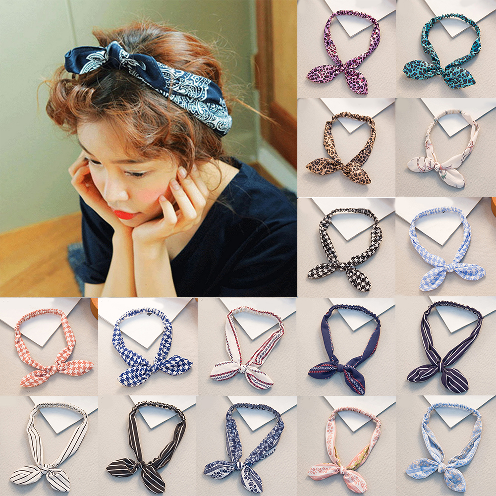 Retro Women Rabbit Ear Printing Headband Bowknot Elastic Iron Wire Hair Bands Leopard Floral Scrunchie Hair Accessories Headwrap