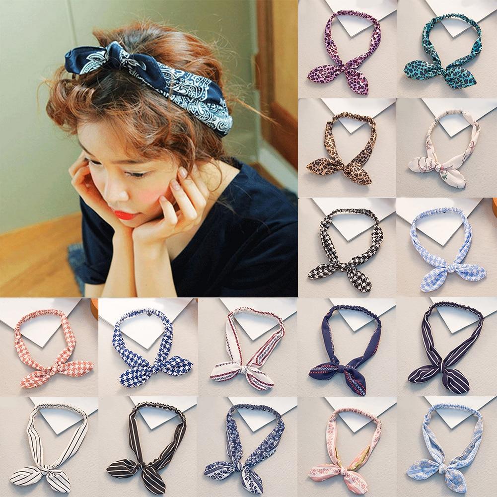 Bandeau imprimé avec oreilles de lapin, bandeau avec nœud papillon, élastique, fil de fer, léopard, chouchou, accessoires pour cheveux