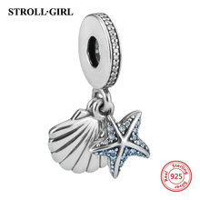 Authentic 925 Sterling Silver Tropical Starfish & Sea Shell Silver Charm Bead Fit Original Pandora Bracelet Pendant Jewelry Gift lzeshine 100% real 925 sterling silver effervescence murano glass bead fit original pandora charm bracelet authentic psgb