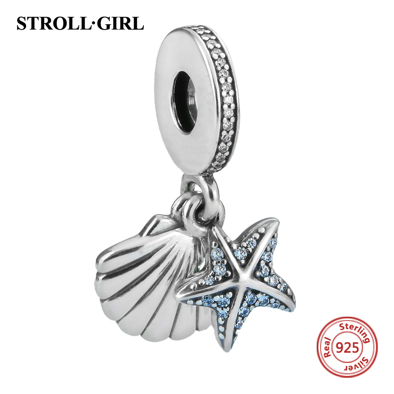 Authentic 925 Sterling Silver Tropical Starfish & Sea Shell Encantos Beads com CZ Fit Pandora Original Pulseira Pingente Jóias