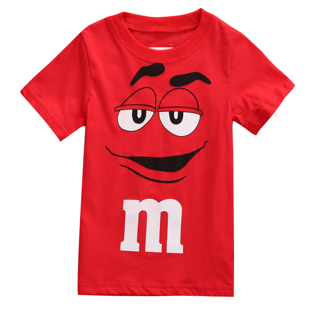 2018 Fashion Red Cute Cartoon Tee Kids Boy Short Sleeve Cotton T-shirt Tops Blouse 2-7Y  Blouse Summer Tee