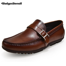 Spring and Summer New Mens Shoes Genuine Leather Leisure Boat Lazy Men Trendy Buckle Driving