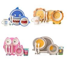 5pcs/set Eco-friendly Cartoon Baby Dish Bamboo Sub-grid Plate Irregular Tableware Toddler Feeding Dinnerware Creative Gift Baby