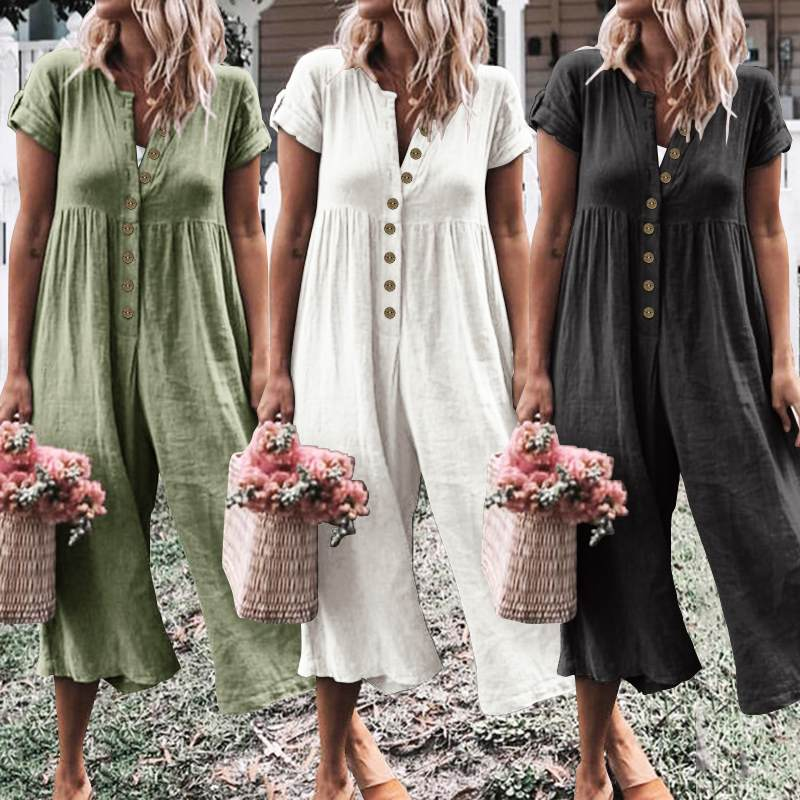 2019 Celmia Oversized Jumpsuits Women Short Sleeve Summer Rompers Casual Solid Buttons Playsuits Fashion Loose Wide Leg Pants